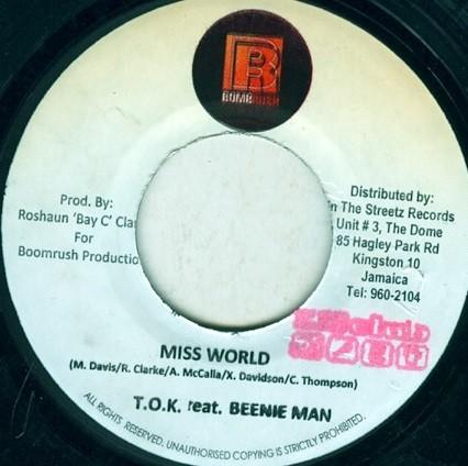 TOK Feat Beenie Man : Miss World   Single / 7inch / 45T     Dancehall / Nu-roots