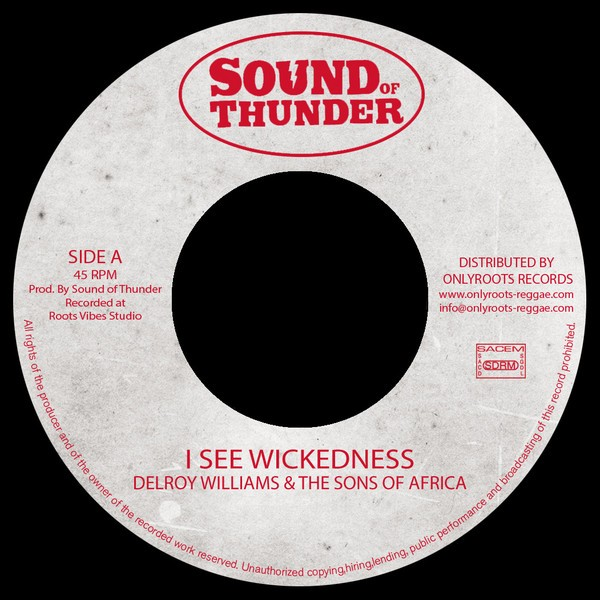 Delroy Williams,  Mr Haze & The S.O.A : I See Wickedness | Single / 7inch / 45T  |  Oldies / Classics
