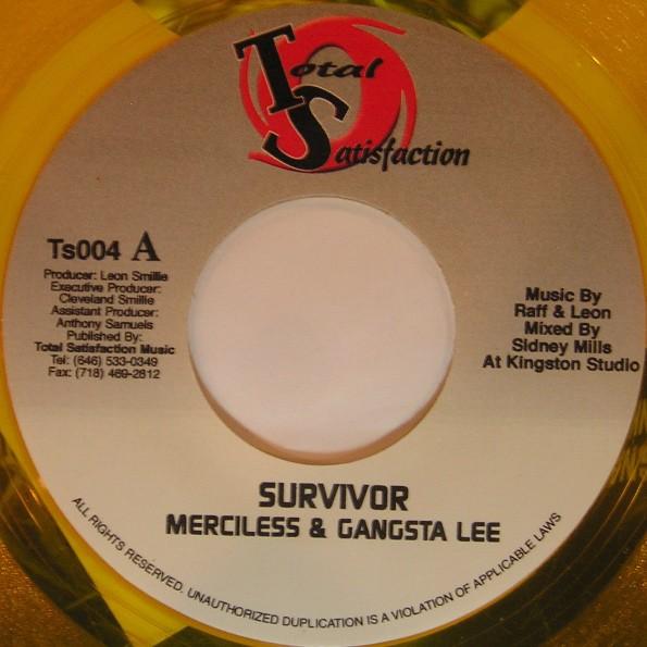 Merciless & Gangsta Lee : Survivor   Single / 7inch / 45T     Dancehall / Nu-roots