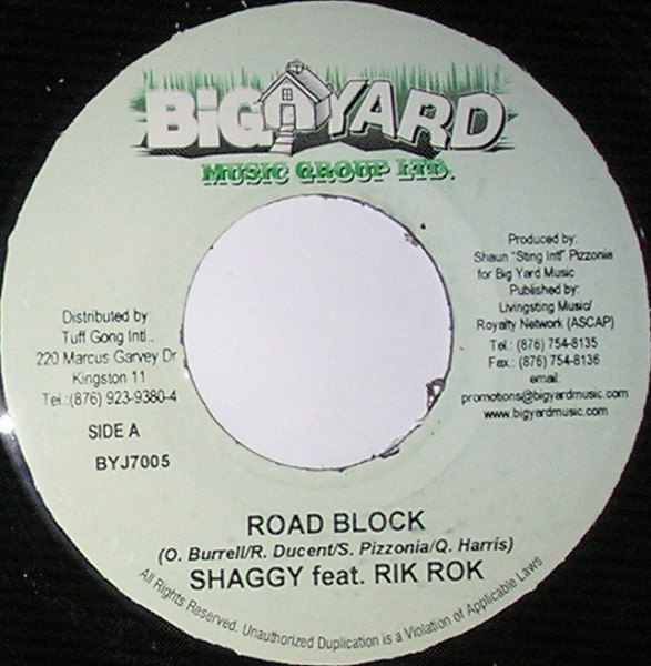 Shaggy Feat Rik Rok : Road Block | Single / 7inch / 45T  |  Dancehall / Nu-roots