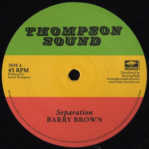Barry Brown : Separation | Maxi / 10inch / 12inch  |  Oldies / Classics