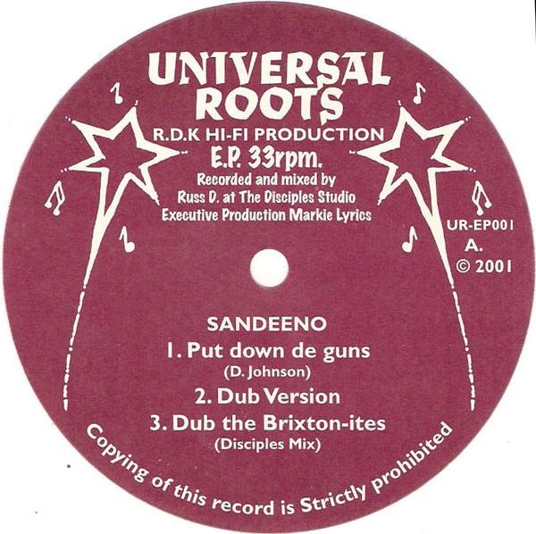 Sandeeno : Put Down De Guns   Maxi / 10inch / 12inch     UK