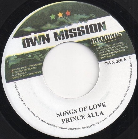 Prince Alla : Songs Of Love | Single / 7inch / 45T  |  Dancehall / Nu-roots