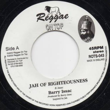Barry Issac : Jah Of Righteousness   Single / 7inch / 45T     UK