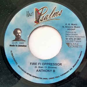 Anthony B : Fire Fi Oppressor | Single / 7inch / 45T  |  Dancehall / Nu-roots