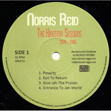 Norris Reid : The Kingston Sessions 1978-1985   LP / 33T     Oldies / Classics
