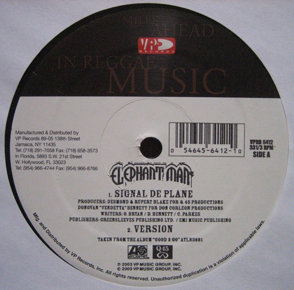 Elephant Man : Signal De Plane   Maxi / 10inch / 12inch     Dancehall / Nu-roots