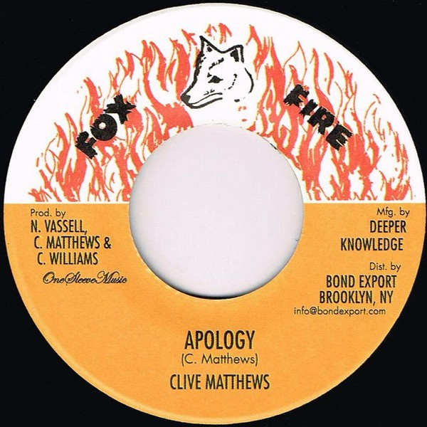 Clive Matthews : Apology | Single / 7inch / 45T  |  Dancehall / Nu-roots