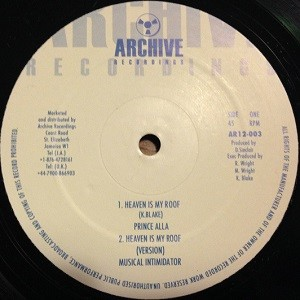 Prince Alla : Heaven Is My Roof | Maxi / 10inch / 12inch  |  Oldies / Classics