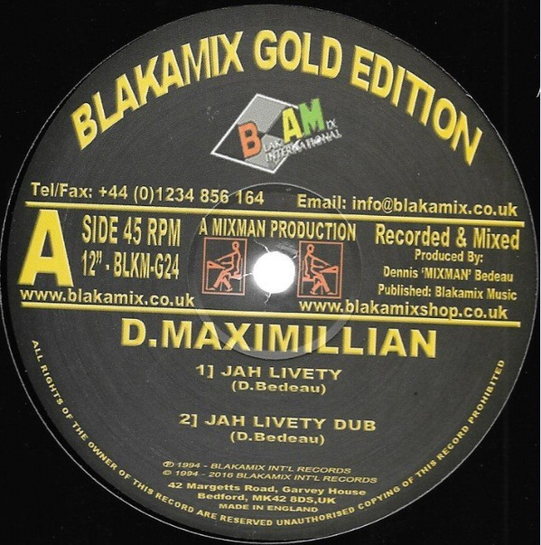 D. Maximillian : Jah Livety   Maxi / 10inch / 12inch     UK