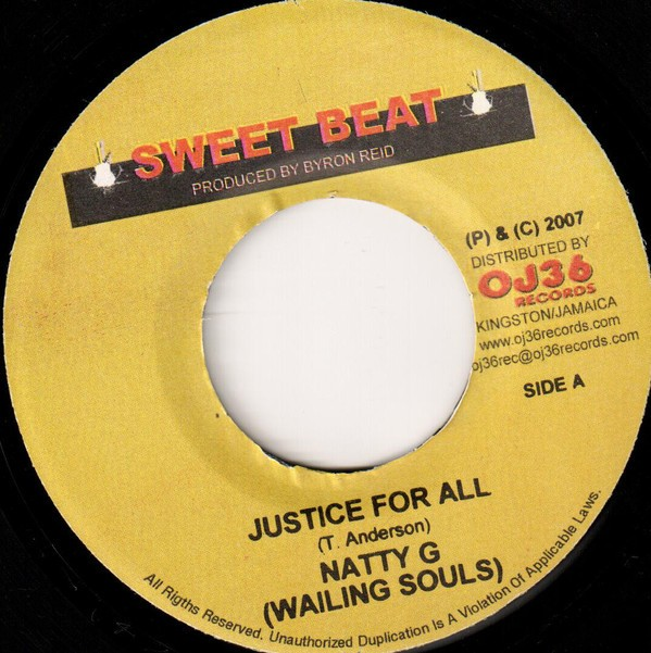 Natty G ( Wailing Souls ) : Justice For All | Single / 7inch / 45T  |  Dancehall / Nu-roots