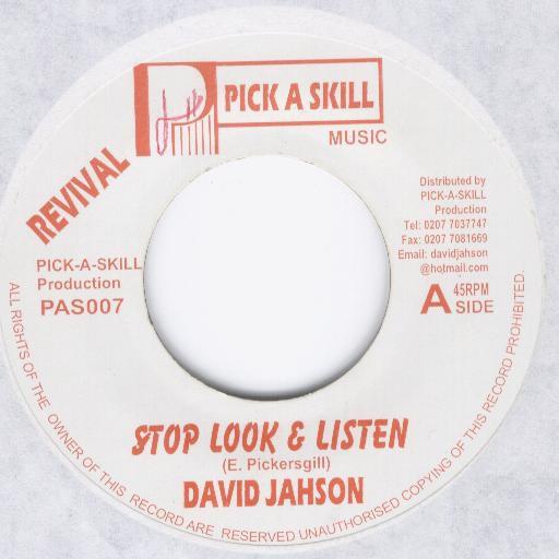 David Jahson : Stop Look & Listen   Single / 7inch / 45T     Oldies / Classics
