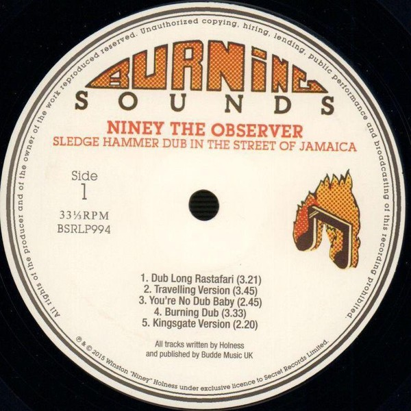 Niney The Observer : Sledge Hammer Dub In The Street Of Jamaica   LP / 33T     Oldies / Classics