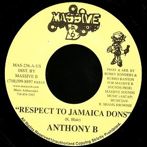 Anthony B : Respect To Jamaica Dons | Single / 7inch / 45T  |  Dancehall / Nu-roots