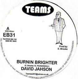 David Jahson : Burnin Brighter   Single / 7inch / 45T     UK